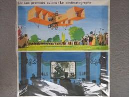 AFFICHE CARTONNEE L� ECOLE D� AUTREFOIS- LES PREMIERS AVIONS-CINEMA- EDITIONS ROSSIGNOL-JOUBERT MONTMORILLON-AVIATION