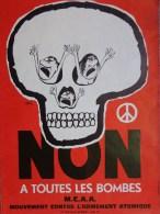 AFFICHE  MOUVEMENT CONTRE L� ARMEMENT ATOMIQUE - SINE- NON A TOUTES LES BOMBES- TETE DE MORT
