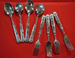4 Cuillères Et 4 Fourchettes à Dessert  Avec Coffret Argenterie TBE Cuiller Cuillere Couverts - Silverware
