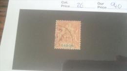 LOT 233914 TIMBRE DE COLONIE GABON OBLITERE N�26 VALEUR 40 EUROS