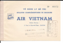 Air Vietnam 1956, bulletin complementaire de bagages, vol Digon --> Paris