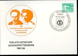 DDR PP18 C1/010 Privat-Postkarte LIEBKNECHT LUXEMBURG Jena Sost. Sost. 1988 - [6] Repubblica Democratica