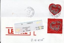 Y. Et T. 3996 Et 3998 Sur Enveloppe - Saint Valentin - Coeur De Givenchy - Oblitération Manuelle - France
