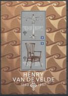 Belgium**ART DECO/ART NOUVEAU-JUGENDSTIL-BAUHAUS-Sheet/Feuillet 2stamps H Van De Velde Architect-Chair-Candelabra-Archit - Belgium