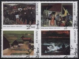 Färöer 1991 85. Geburtstag Von Samal Joensen-Mikines, Gemälde 223/26 Gestempelt - Féroé (Iles)