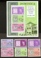 SERIE COMPLETA DE 6 SELLOS Y 1 HOJA BLOQUE DEL CENTENARIO DEL SELLO DEL AÑO 1974  (NUEVOS-MINT) - Dominica (1978-...)