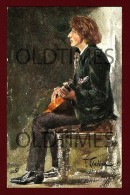 PLAYING GUITAR - OILETTE - RAPHAEL TUCK AND SONS - 1910 FRANZ J. KARBINA ART SIGNED PC - Tuck, Raphael