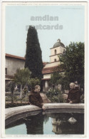 GARDEN VIEW ~ SANTA BARBARA MISSION CALIFORNIA CA ~ MONKS ~ c1910s-20s vintage postcard
