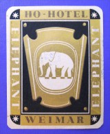 HOTEL PENSION GOLD INTER ELEPHANT WEIMAR GERMANY DEUTSCHLAND TAG STICKER DECAL LUGGAGE LABEL ETIQUETTE AUFKLEBER BERLIN - Etiquettes D'hotels