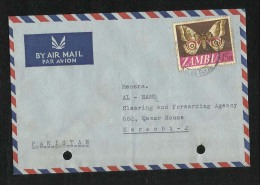 Zambia 1971  Air Mail  Postal Used Cover  Butterfly  Animal  Stamps - Zambia (1965-...)
