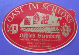HOTEL PENSION HAUS NO NAME SCHLOSS STEINBURG WURZBURG GERMANY DEUTSCHLAND DECAL LUGGAGE LABEL ETIQUETTE AUFKLEBER BERLIN - Hotel Labels
