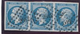 N°14B TYPE II BANDE DE 3 TIMBRES. - 1853-1860 Napoleon III