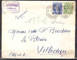 Lettre De THOUARCE  Maine Et Loire  Annee 1936  Cachet MACHELLES  Pour Un ABBE A  VILLEDIEU LA BLOUERE M.et.L. - France