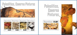 m14301ab Mozambique 2014 Painting Paleolithic cave paintings 2 s/s