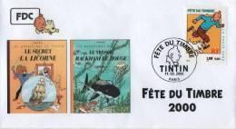 FRANCE 3303 FDC Premier Jour 06 Fête Du Timbre 2000 Paris TINTIN HERGE KUIFJE BEDE COMICS STRIP - Stripsverhalen
