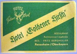 HOTEL PENSION HAUS GOLDENER HIRSCH BAYERN GERMANY DEUTSCHLAND ALLEMAGNE STICKER LUGGAGE LABEL ETIQUETTE AUFKLEBER BERLIN - Hotel Labels