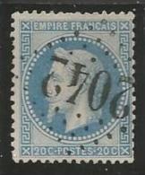France - Napoleon III Lauré - N°29B Bleu - Obl GC 2042 LIGNY-EN-BARROIS - 1863-1870 Napoléon III Lauré