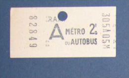 RATP METRO AUTOBUS  - PARIS - TICKET - POINCONNAGE MANUEL - A - Métro