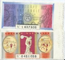 411Po   Loterie Nationale Lot De 2 Billets Differents 100 Francs Sports Et Astronomie De 1939 - Lottery Tickets