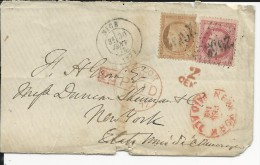 1872 - ENVELOPPE Avec MIXTE EMPIRE LAURE + SIEGE De NICE Avec TAXE ANGLAISE Pour NEW-YORK (USA) - Marcofilia (sobres)