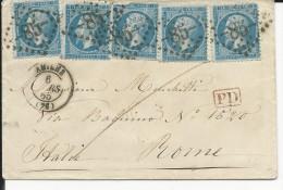 1865- RARE ENVELOPPE Avec EMPIRE DENTELE X 5 (1 DEFECTUEUX) De AMIENS (SOMME) Pour ROME - Postmark Collection (Covers)