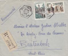 -> Lettre Recommandée Avec Cachet Hexagonal De Breitenbach 1958 - Alsace Lorraine
