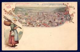Souvenir De Spa. Panorama, Blason Spa-Pouhon Et Femme En Costume Ardennais. 1898 - Spa
