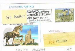 """ITALIA (ITALY) - INTERI POSTALI - 2001 CARTOLINA  SCULTURA LEONARDO: ANNULLO MECCANICO """"DOLCI TERRE NOVI"""" -  RIF. 1545 - Interi Postali"""