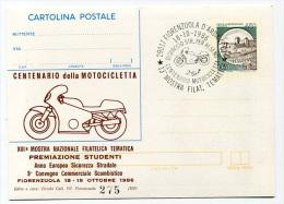 INTERO POSTALE CON PUBBLICITà PRIVATA SOVRASTAMPA CENTENARIO DELLA MOTOCICLETTA FIORENZUOLA D´ARDA ANNO 1986 - 1946-.. République