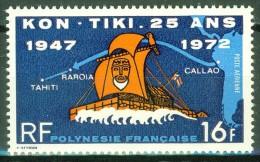 Radeau De Tor Heyerdal - Arrivée Du Kon Tiki - POLYNESIE FRANCAISE - Bateau Traditionnel En Roseau - N° 64 ** - 1972 - Airmail