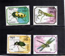 KAMPUCHEA - CAMBOGIA CAMBODIA CAMBOGE 1988 FAUNA INSECTS INSETTI USATI USED OBLITERE´ - Kampuchea