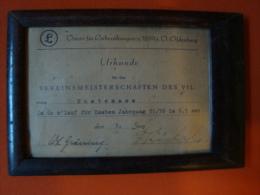 Urkunde VFL Oldenburg, Vereinsmeisterschaften Im 60 M Lauf Jahrgang 1935/6 !! - Leichtathletik