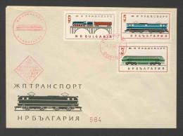 Bulgaria Bulgarien 1964 FDC + Mi 1448 /60 - Locomotives - Railway Transport / Eisenbahn - Treinen