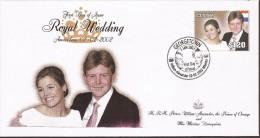 FDC´s 4x 2002 Guyana = Royal Wedding Willem-Alexander & Maxima - FDC