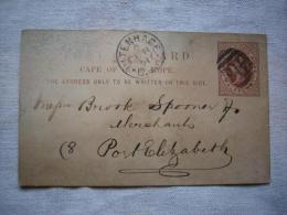 Lettre Entier Cap Of Good Hope Cap Bonne Espérance 1891 Entier Port Elizabeth - Unclassified