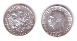 Albania 5 Lek 1939 R WWII Issue - Albania