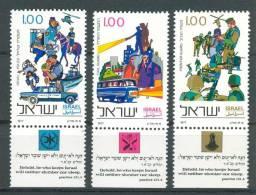 Israel - 1977, Michel/Philex No. : 710/711/712,  - MNH - *** - Full Tab - Israël