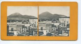 Vues Stéréoscopiques Photo Sur Carton - Vesuve Vu De Torre Annunziata - Photos Stéréoscopiques
