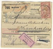 Frankreich Michel No. 98 , 121 auf Paketkarte Perfin