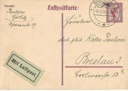 Deutsches Reich Flugpost Ganzsachen  Karte 1926 Görlitz-Breslau - Deutschland