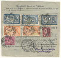 Frankreich Michel No. 100 , 139 , 165 , 184 auf Paketkarte