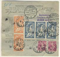 Frankreich Michel No. 100 , 139 , 165 , 185 auf Paketkarte