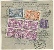 Frankreich Michel No. 100 , 139 , 181 , 216 auf Paketkarte
