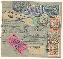 Frankreich Michel No. 100 , 139 , 235 , 241 auf Paketkarte