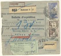 Frankreich Michel No. 139 , 235 , 240 , 241 auf Paketkarte Perfin