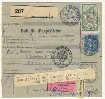 Frankreich Michel No. 168 , 182 auf Paketkarte Perfin