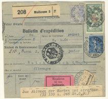 Frankreich Michel No. 168 , 182 , 235 auf Paketkarte Perfin