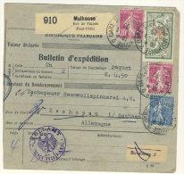 Frankreich Michel No. 168 , 182 , 185 auf Paketkarte Perfin
