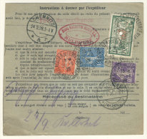 Frankreich Michel No. 161 , 168 , 216 auf Paketkarte Perfin