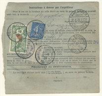 Frankreich Michel No. 168 , 182 , 235 auf Paketkarte